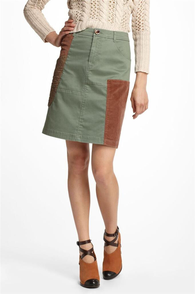 Anthropologie NWT New Patchwork Cargo Skirt Size 2 4 8 by Meadow Rue color Green