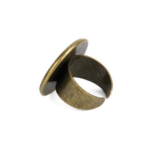 10 Ancient Cyan Adjustable DIY Blank Ring Bezel Base 25mm Cabochon Findings