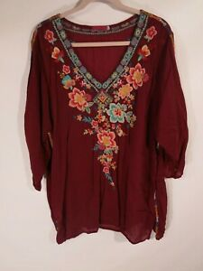 Johnny-Was-Womens-Plus-Size-2X-Floral-Embroidered-Tunic-Top-Multicolor