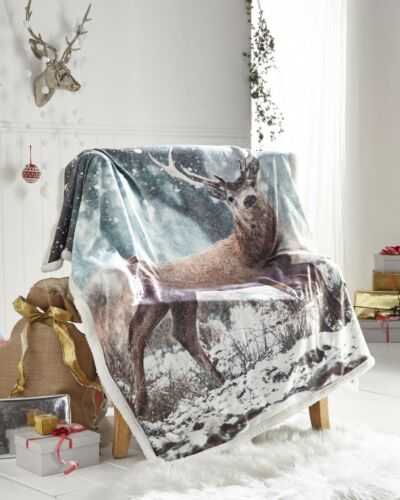 PIERIDAE Soft Fleece Warm RUSTIC STAG Throws Blankets