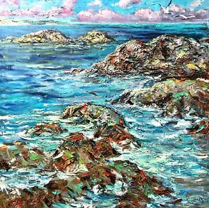 painting-decor-art-Marine-landscape-could-sea-collectible-impressionism-blue