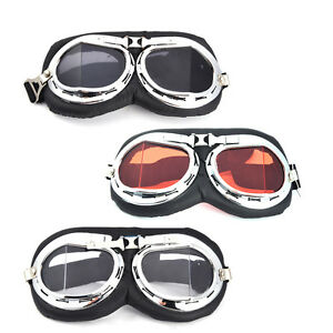 790d8e457b Image is loading Helmet-Chrome-Leather-Eyewear-Goggles-Motorcycle-Vintage- Pilot-