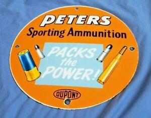 VINTAGE-PETERS-SPORTING-AMMUNITION-PORCELAIN-METAL-GAS-AMMO-BEER-DUPONT-SIGN