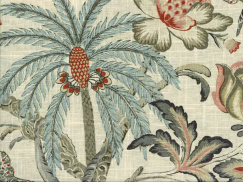 Coral Multi Drapery Upholstery Fabric Blended Linen Tropical Floral Palms