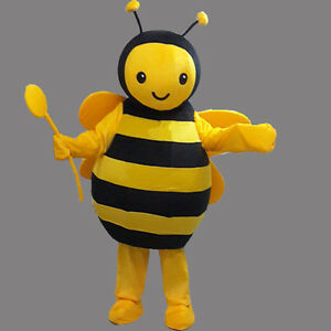 Bee Mascot Costume Honeybee Cartoon Cosplay Party Dress Adult Outfit One1 PC