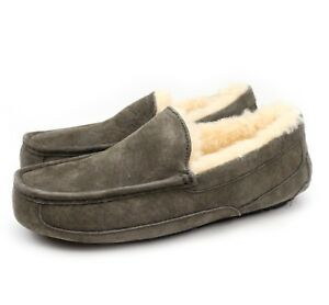 01dfa51244f Details about UGG Australia Mens Ascot Charcoal Sheepskin Suede Moccasin  Slippers US 8 NEW!