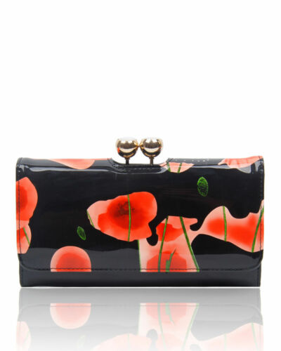 New Floral Print Patent shiny Leather Wallet Long Card Holder Purse For ladies