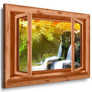 Blick aus dem fenster poster  Bild Leinwand Fenster blick N127 Bilder Wasserfall Sonne ...