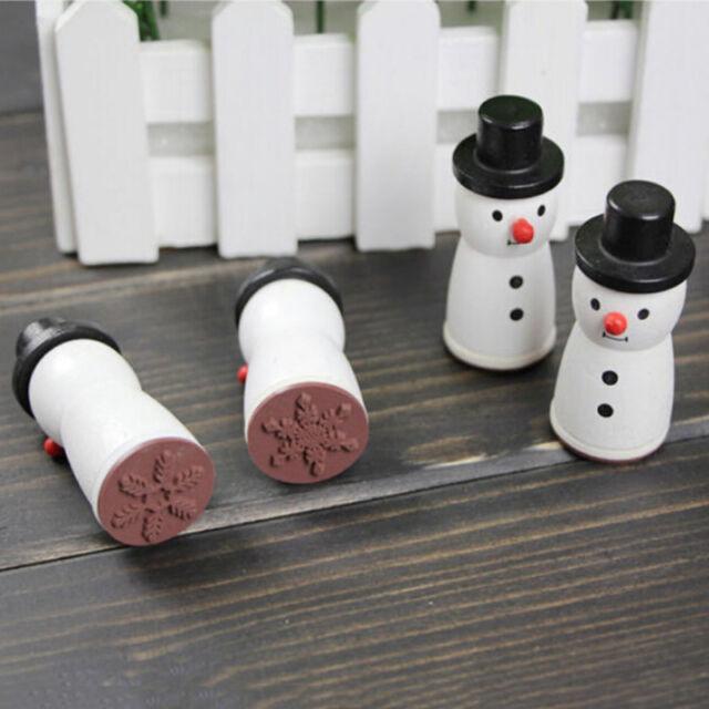 Wooden Snowman Snowflake Stamp XMAS Decor Scrapbooking Card Making Stamper EW