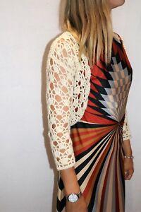esprit-Brand-Cream-Crochet-Long-Sleeve-Crop-Cardigan-Size-XS-AN02