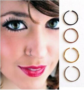 Men S Women Thin Nose Ring Hoop Stud Cartilage Eyebrow Helix Earring Open Hoop Ebay