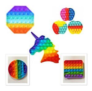 Rainbow Fidget Bubble Popper Toy Kids Adult Stress Relief Sensory Toy
