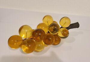 Vintage-Retro-Mid-Century-Large-Lucite-Acrylic-White-Amber-Grapes-Cluster-Vine