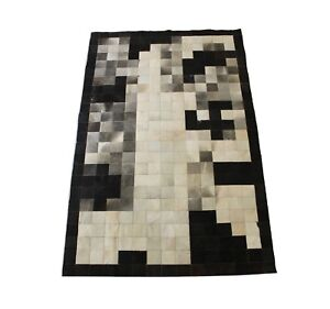 Details About Cowhide Patchwork Rug Black And White 5x8 Ft Real Cow Skin Area Leather