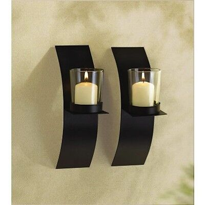 """SMALL Sconce 8"""" Black Candle Holder Wall Plaque Decor ..."""