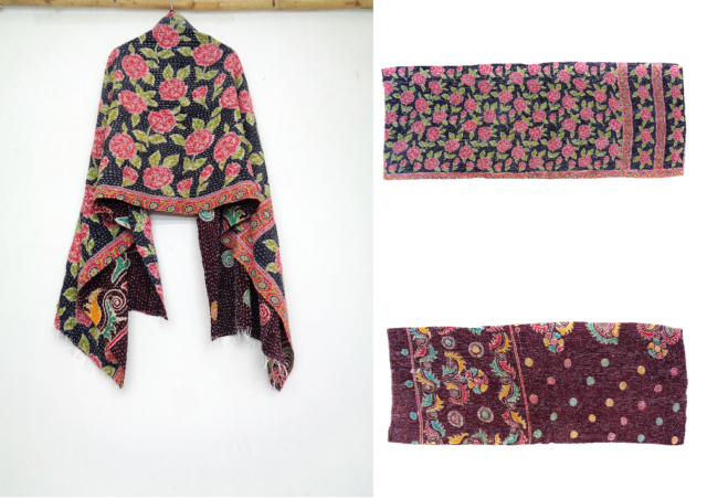 Cotton Kantha Scarf Head Wrap Stole Dupatta Hand Quilted Women headband