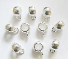 10 Silver Plated Dangle Bails for Charm Bracelet - 11.5mm