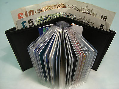 Leather Credit Card Holder Black for 25 Cards and Paper Money Section RFID