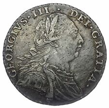 1787 SHILLING - GEORGE III BRITISH SILVER COIN - RARE NO STOPS AT DATE