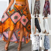 Boho Women Ethnic Style Floral Printed Vintage Long Maxi Split Wrap Skirt Dress