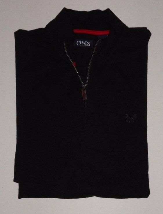 NEW MENS CHAPS BIG AND TALL HALF ZIP BLACK PULLOVER SHIRT XLT 2XLT