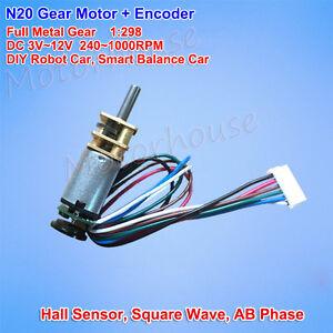 Details about DC 3V 6V 12V 1000RPM Mini Full Metal Gear Motor Speed Encoder  Hall DIY Robot Car