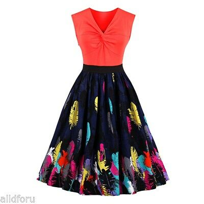 Sexy Women Vintage V Neck Front Knot Feather Print Evening Party Cocktail Dress