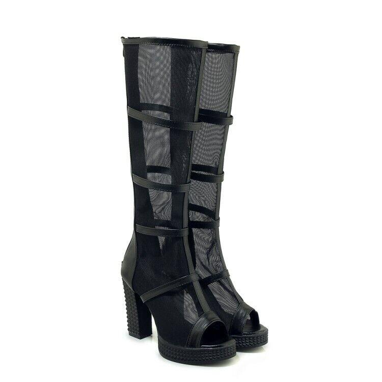 Womens Mid Calf Booties Back Zipper Open Toe Block Heels Breathable Mesh Sandals
