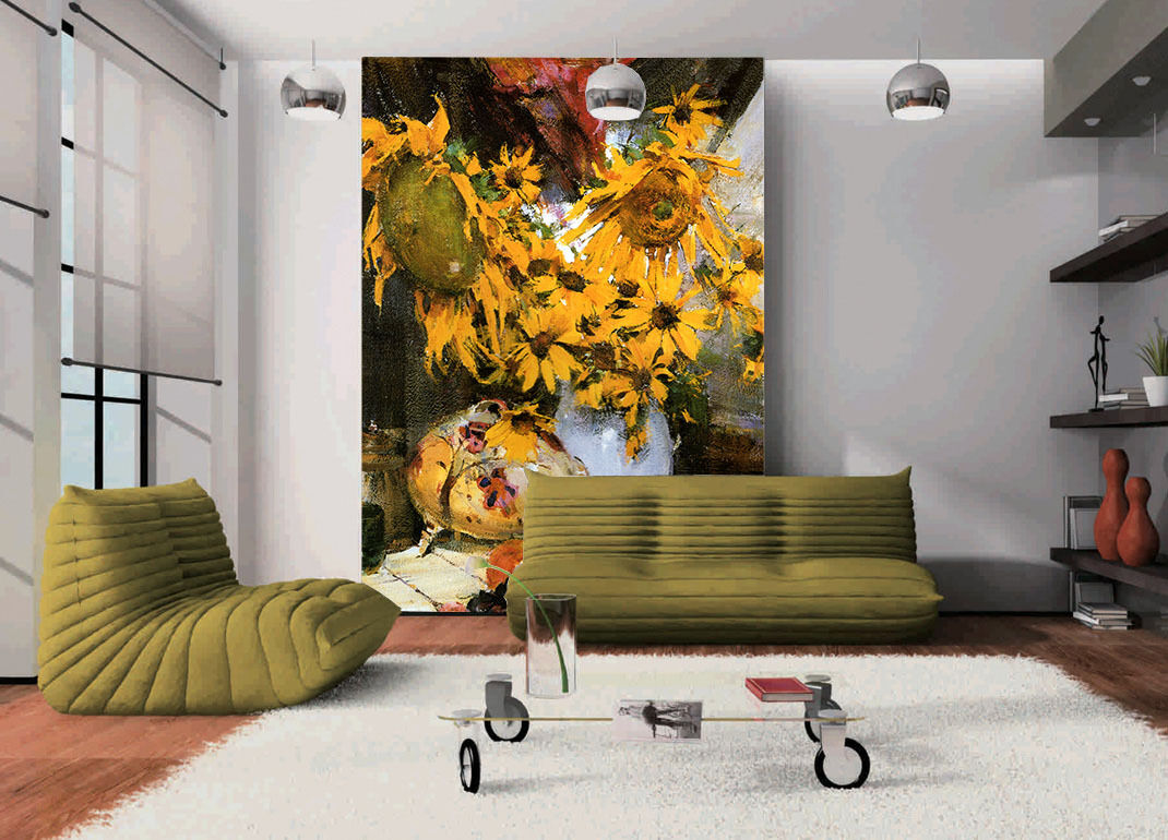 3D WitheROT Sunflower Paint Paper Wall Print Wall Decal Wall Deco Indoor Murals