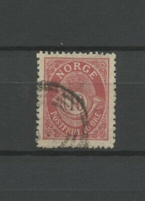 An Old 10 Öre Posthorn Stamp Aggressive No: 62841 Norway Used!!