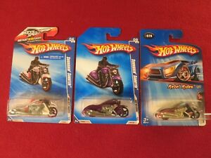 3) HOT WHEELS MOTORCYCLES FACTORY SEALED ALL DIFFERENT MINT IN PACKS