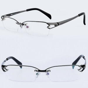 54d6a6c8c4 Image is loading Men-100-Pure-Titanium-Gunmetal-Eyeglass-Frames-Half-