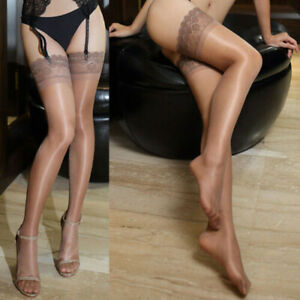 Women-Sexy-Sheer-Shiny-Lace-Non-slip-Thigh-High-Stockings-Hold-up-Stay-up