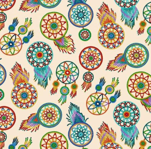 Fabric Native Spirit Beaded Dreamcatchers on Cream Cotton by Elizabeth 1//4 yard