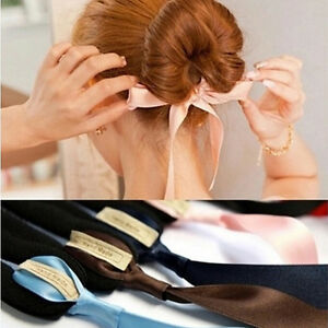 Details About Women Magic Tools Sponge Messy Donut Bun Hairstyle Bows Head Hair Band Be