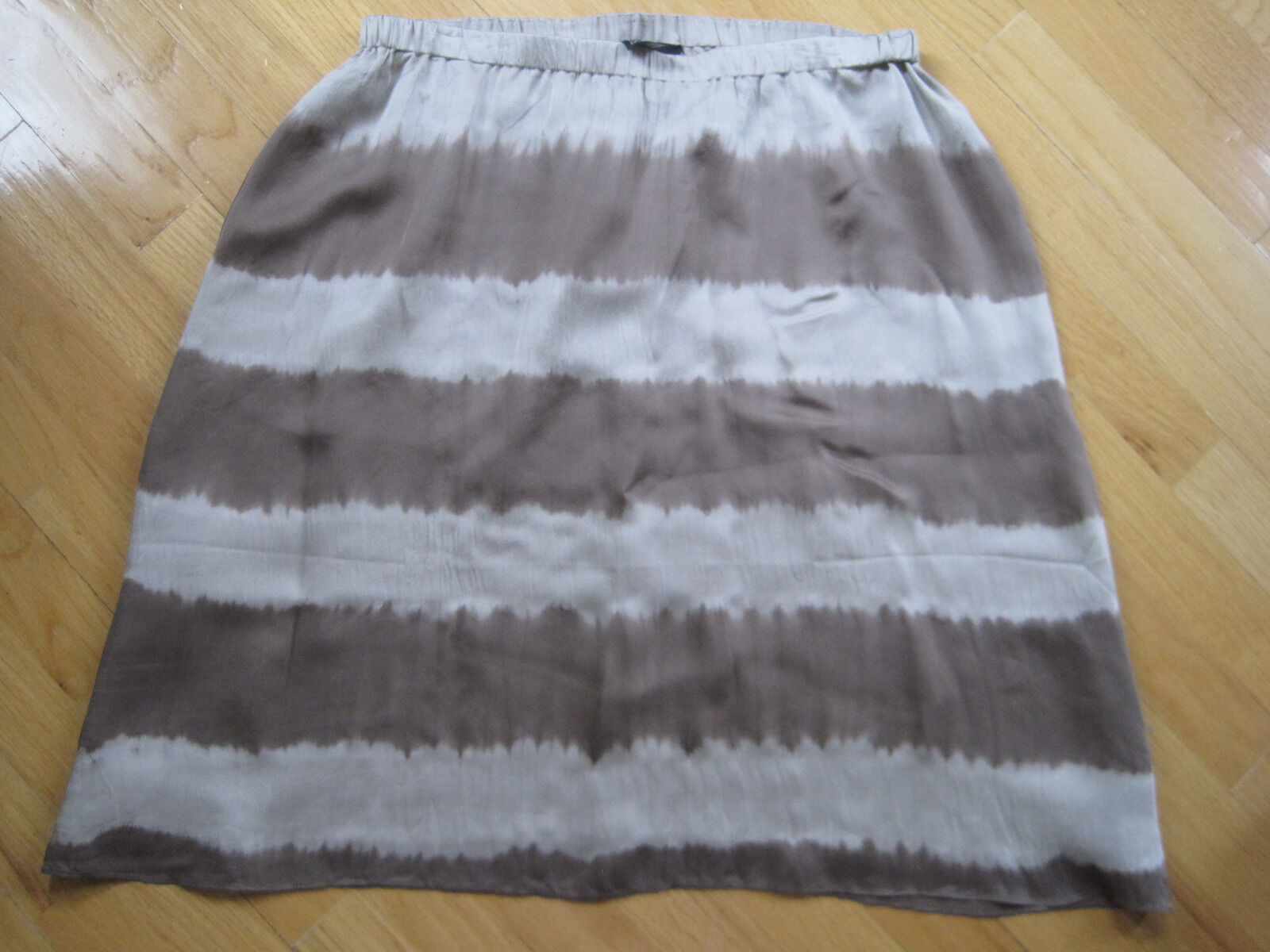 NWT Eileen Fisher Shibori Striped Silk Pull On Skirt Mocha Brown Size Small