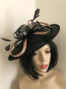NEW Black Nude Fascinator Wedding Saucer Hat Formal Ladies Womens ... 41cc08c1350
