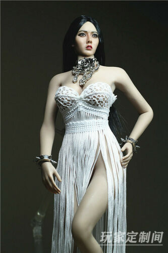 """Custom 1:6 White fringed dress Necklace F12/"""" TBL Phicen Female Big Middle Bust"""