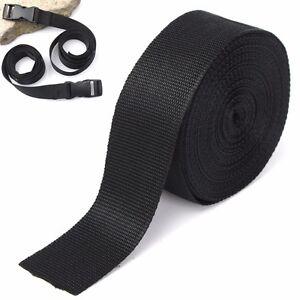 50mm-10m-Negro-Nylon-Tela-Cinta-de-las-correas-para-Bricolaje-Flejado-correas-correa-del-bolso