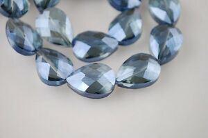 5pcs-24x17mm-Faceted-Flat-Crystal-Glass-Teardrop-Loose-Beads-Transparent-Blue