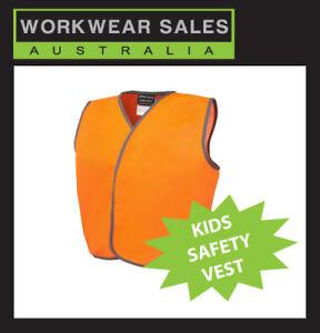 KIDS HI VIS VEST, HIVIS CHILDREN SAFETY VESTS, LIME GREEN or ORANGE.