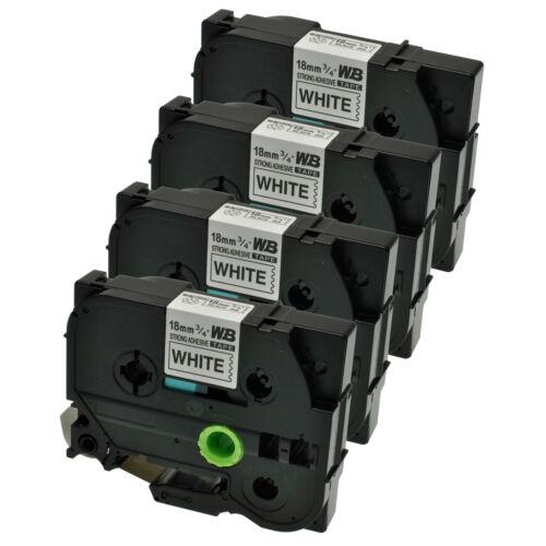 4 Schriftbänder kompatibel zu Brother P-Touch TZE-S241 8m//18mm Schwarz auf Weiß