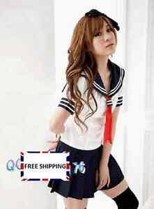 Japanese School Uniform Girl Cosplay Sailor Outfit Fancy Dress Babydoll Costume