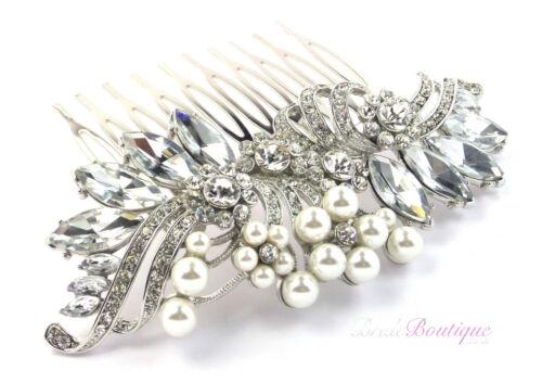 Bridal Wedding Vintage Style Crystal /& Pearl Silver Hair Comb Slide HC03