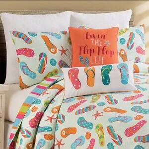 Flip-Flop-Life-Coastal-3-Pc-Queen-or-King-Quilt-Set-Quilted-Bedspread-with-Shams