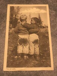 rppc-postcard-Two-Wet-Pants-Cute-Little-Boys-In-Field-1949