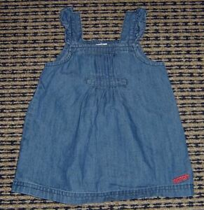 0cbfa2b8a09e Image is loading ESPRIT-BABY-GIRLS-DENIM-PINAFORE-DRESS-SZ-6-