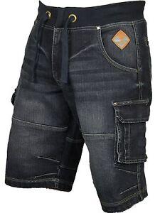 Hommes-Big-Taille-Cargo-Combat-Elastique-Short-en-jean-fonce-Designer-40-60