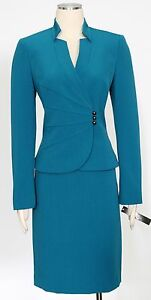 Tahari Peacock Skirt Suit Size 8 Asymmetrical Buttons Long Slvs Women's New*