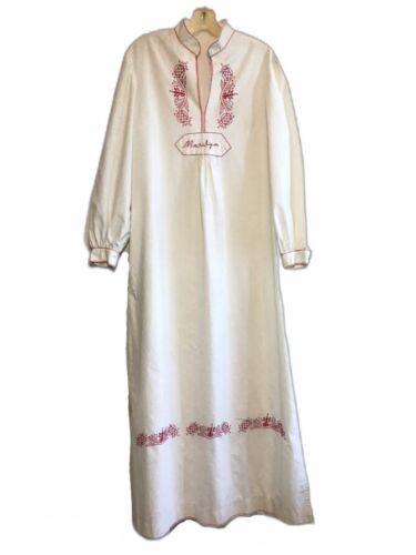 VTG 80s Maternity Dress Hungarian Style White Embr
